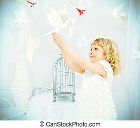 parenthood - Beautiful little girl in her dream world ...