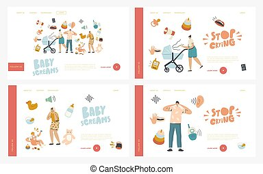 Maternity, Mother Care Landing Page Template Set. Characters...