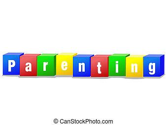 Parenting bricks - Parenting concept bricks illustration in...
