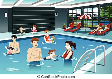 Parents and Babies Swimming - A vector illustration of happy...