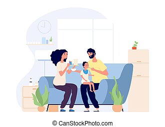 Parents and baby. Feeding infant, happy young family together. Mother father and toddler on sofa with food vector illustration