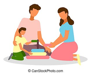 Cartoon family sitting on oval rug. Mom and dad play developmental game with son. Collect the pyramid. Parents and children play together while staying at home. Volume colorful ring with hole inside