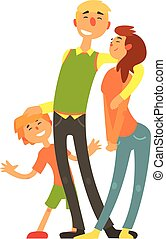 Parents and child, loving Happy young family