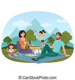 Parents and children having a picnic outside near the mountains vector illustration.