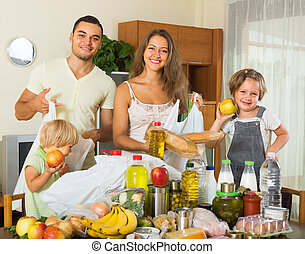 Parents and children with food