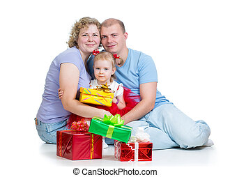 parents and kid girl with gifts isolated on white background