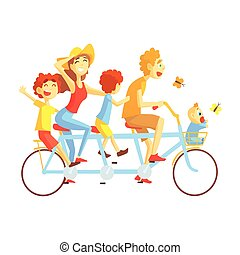 Parents And Kids On Triple Seat Bicycle Riding Outdoors In Summer, Happy Loving Families With Kids Spending Weekend Together Vector Illustration