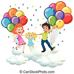 Parents and little girl on clouds with colorful balloons