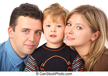 Parents and son close up