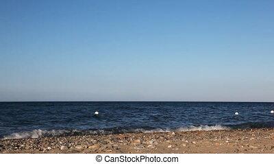 Parents and son run away along edge of sea