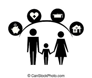 parents and son silhouettes with life icons