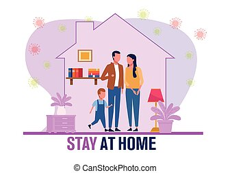 parents and son stay at home and covid19 pandemic particles vector illustration design