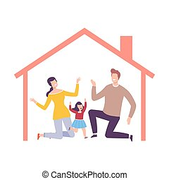 Parents and Their Daughter at Home, House Frame with Happy Family Inside Vector Illustration