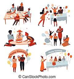 parents, célébrer, boîtes, gâteau, fête, cadeau, enfants,...