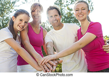 Parents Children Family Hands Together Outside