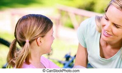 parents, conversation, leur, fille