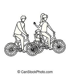 parents couple in bicycle with daughter