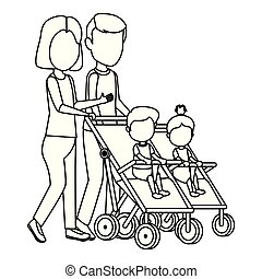 parents couple with babies in cart
