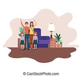 parents couple with daugethers in livingroom