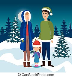 parents couple with daughter in the snowscape