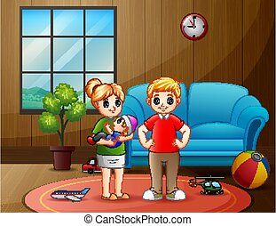 Parents couple with little baby in living room