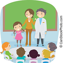 Parents' Day - Illustration of a Kid Presenting Her Parents