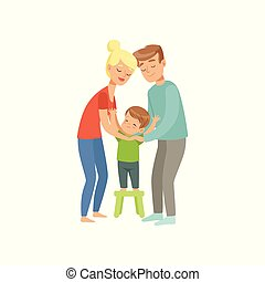 Parents embracing their son, mother and father hugging their kid, happy family and parenting concept vector Illustration on a white background