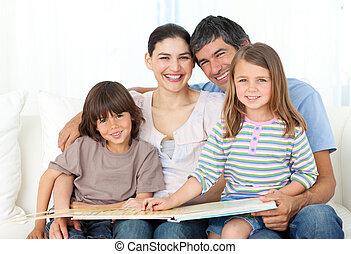 parents, enfants, leur, animé, lecture