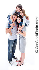 parents, enfants, leur, cavalcade, donner, gai, ferroutage