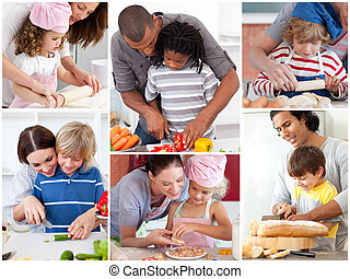 parents, enfants, leur, collage