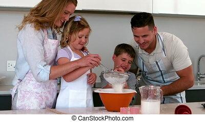 parents, enfants, leur, cuisson