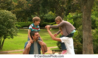 parents, enfants, leur, donner, pigg