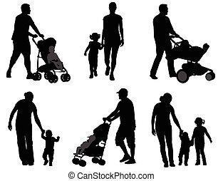 parents, enfants, leur, marche