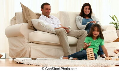 parents, enfants, leur, regarder, jouer