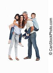 parents, enfants, leur, tenue, dos