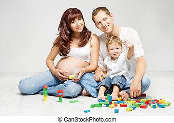 parents, famille, blocs, jouer, gosse