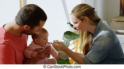 Parents feeding their baby boy 4k - Parents feeding their...
