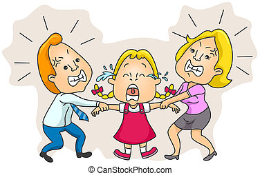 Parents Fighting over Child Custody with clipping path