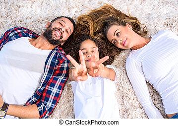 parents, fille, jeune, leur