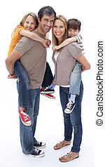 Parents giving children piggyback ride - Parents giving...