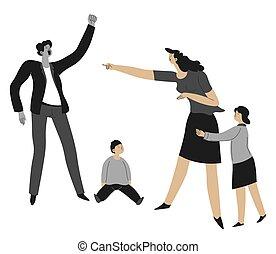parents, gosses, maison, violence, vecteur, disputer