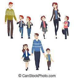 parents, gosses, pères, ensemble, illustration, enfants, vecteur, matin, dessin animé, mains, prendre, style, tenue, mères, école, leur, marche