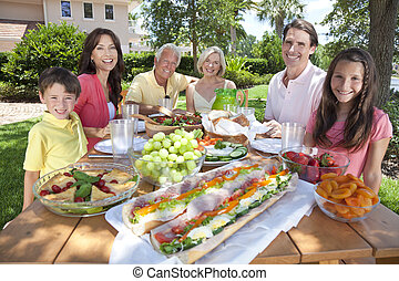 Parents Grandparents Children Family Healthy Eating Outside...