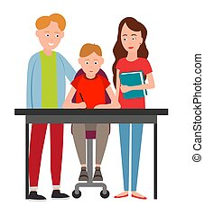 Parents Help Boy Do Homework Vector Illustration