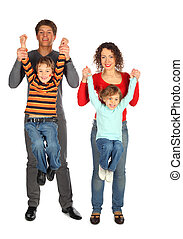 parents hold children from hands