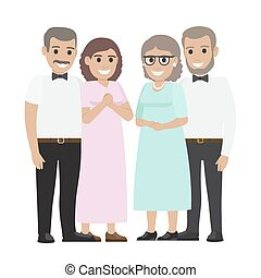 Parents-in-law Flat Vector Illustration