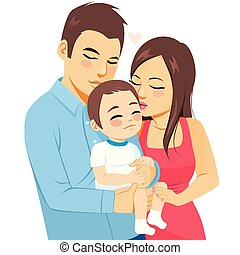 Parents Kissing Baby Toddler Boy