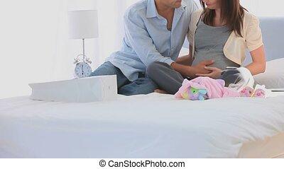 parents, leur, lit, avenir, heureux