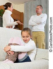 parents, maison, querelle
