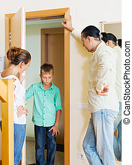 Parents meeting with scold of son